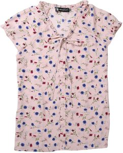 White background with pink floral cap sleeve shirt