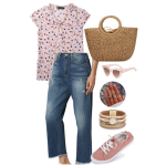 White Background with pink floral cap-sleeve shirt, straight leg crop jeans, straw handbag sunglasses bracelet and pink canvas shoes