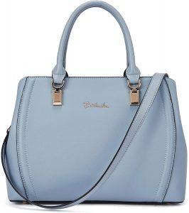 White Background with light blue bostanten Leather Handbag