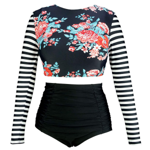 White Background with long-sleeved black and white striped and floral swimsuit