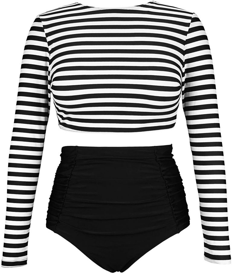 White background with black and white long sleeved two-piece swimsuit