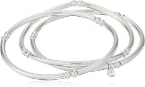 White background with 3 classic stretch silver bangles