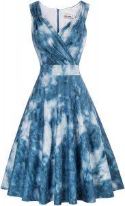 White backgrounkd with blue tie-dye Grace Karin Women's dress