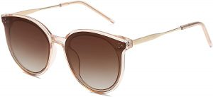 White background with retro round sunglasses for women