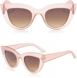 White background with pink cateye sunglasses