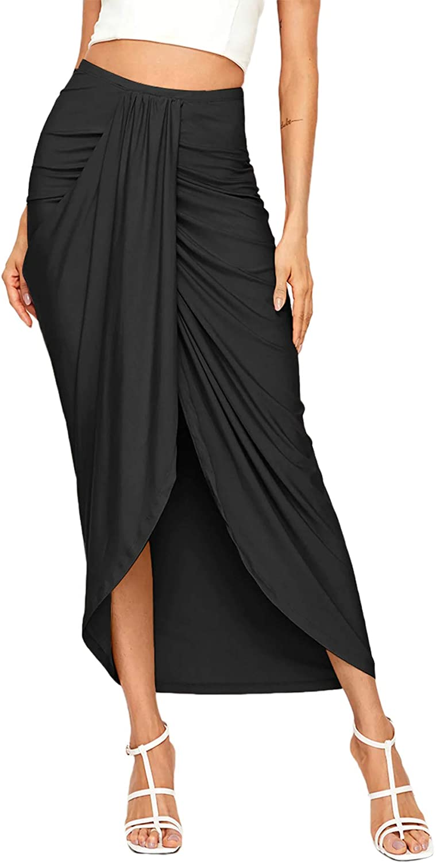 Black front wrap skirt