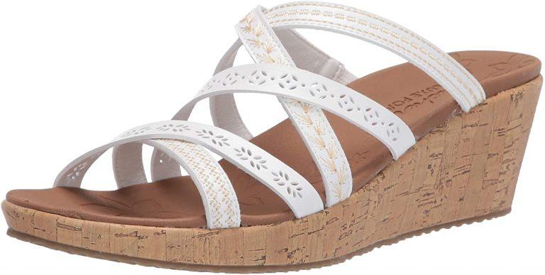 White Slide wedge sandals