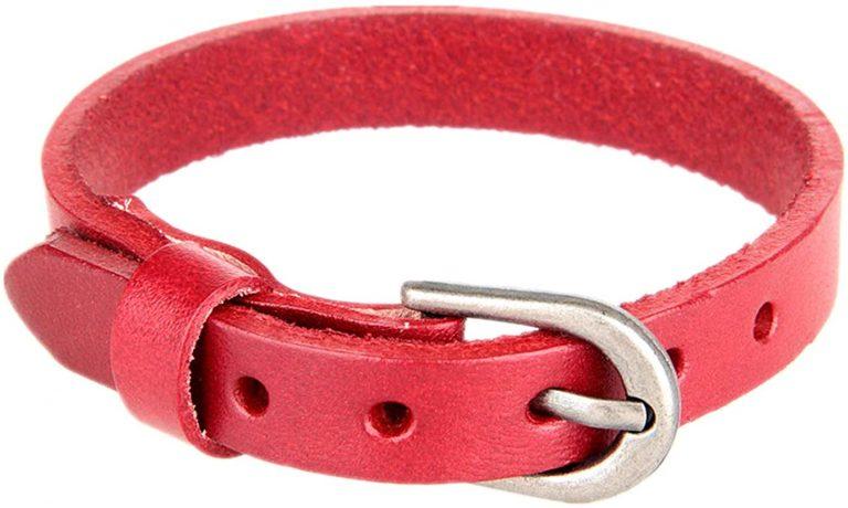 red buckle clasp bracelet