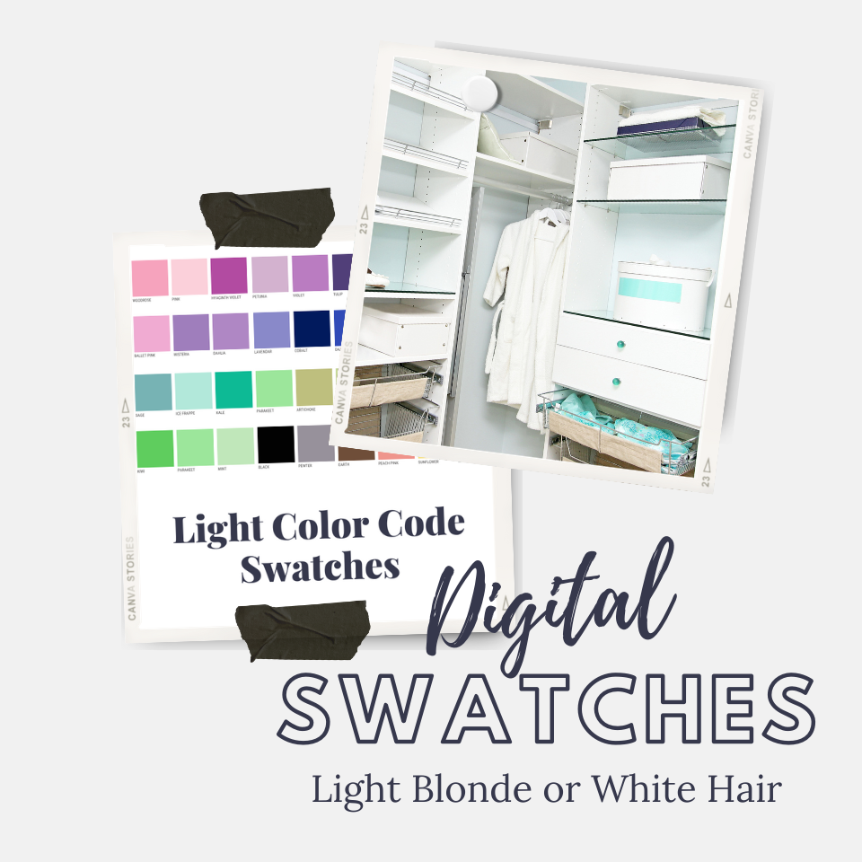 Picture of a closet and a color swatches on a light gray background