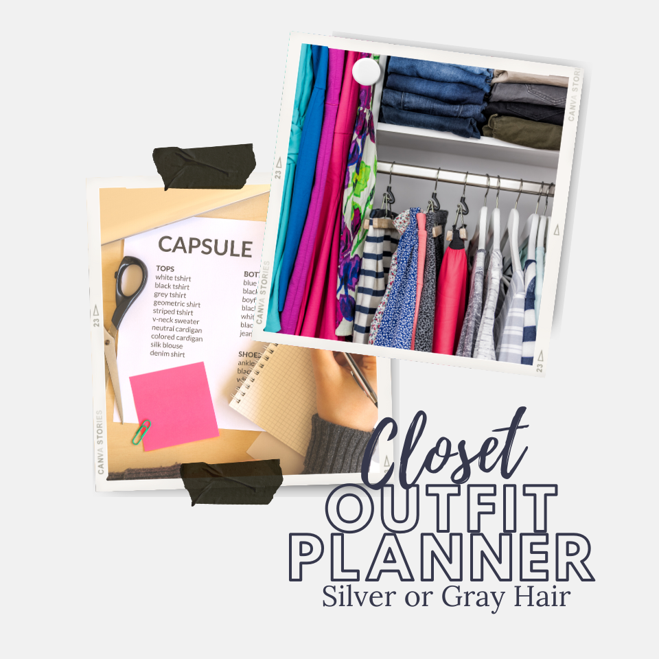Picture of a closet and a capsule wardrobe planning sheet on a light gray background