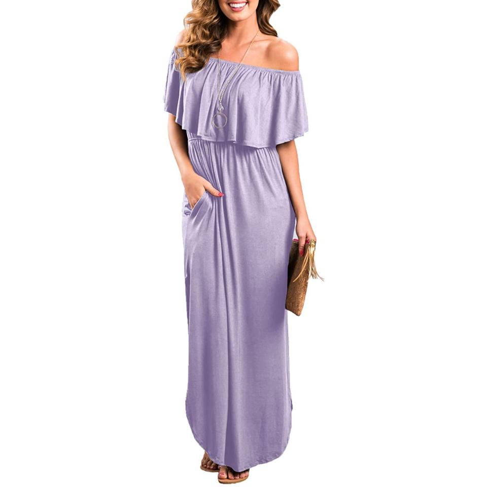Women in lavender off the shoulder maxi dress