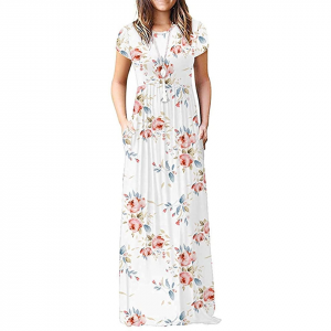 White background with a woman in a white floral maxi dress