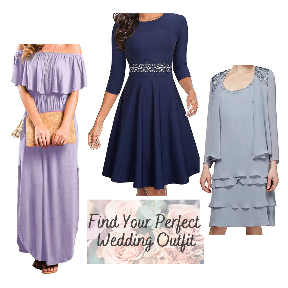 Various Wedding Guest Dresses in lavender, navy and medium blue. Maxi dress, a-line dress and tiered dress