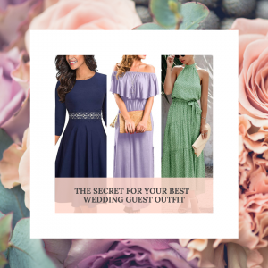 Three wedding guest dresses on a background of flowers
