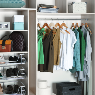 Organized minimal closet with shirts and shoes