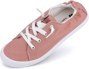 White background with pink canvas shoes