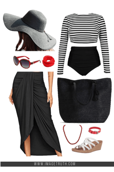 White background with black and white long sleeved swimsuit, black beach bag, wrap skirt and red retro sunglasses